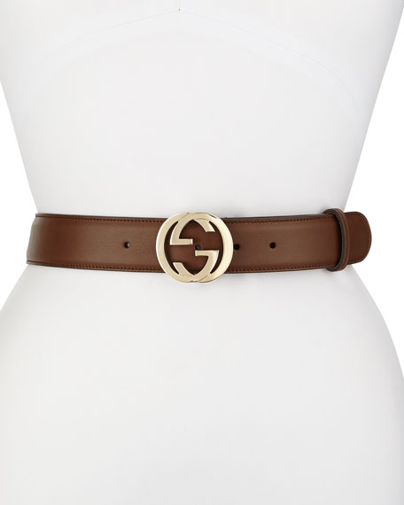 Wide Adjustable GG-Buckle Belt, Nut Brown