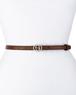GG-Buckle Thin Belt, Brown