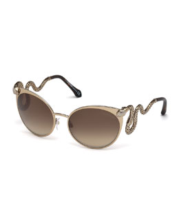Snake-Temple Cat-Eye Sunglasses, Brown