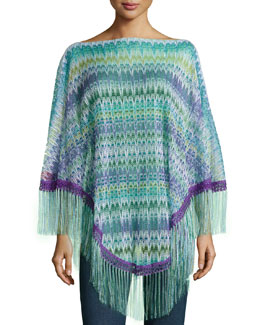 Zigzag-Knit Fringe-Trim Poncho, Green/Purple