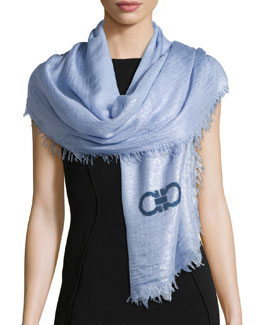 Metallic Shawl w/Sequin Logo, Fleur Blue