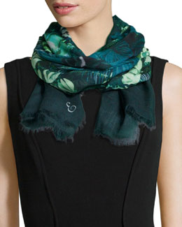 Jungle-Print Lightweight Scarf