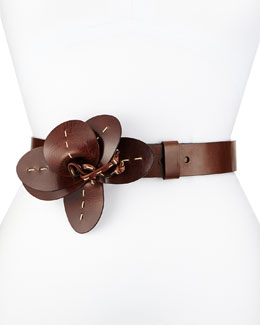 Flower-Detailed Leather Belt, Nutmeg