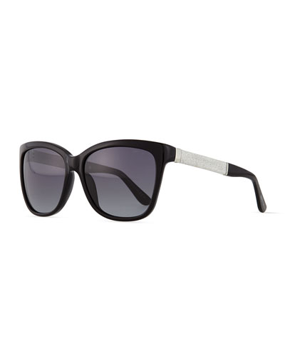 Cora Crystal-Temple Square Sunglasses, Black