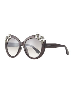 Megan Jewel-Detail Cat-Eye Sunglasses, Dark Gray