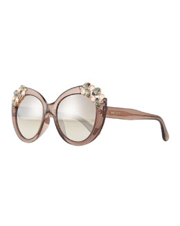 Megan Jewel-Detail Cat-Eye Sunglasses, Brown