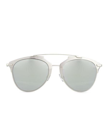 """""""Dior Reflected"""" Two-Tone Aviator Sunglasses, Silvertone/White"""