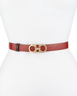 2.5cm Reversible Double-Gancini Belt, Red/Black