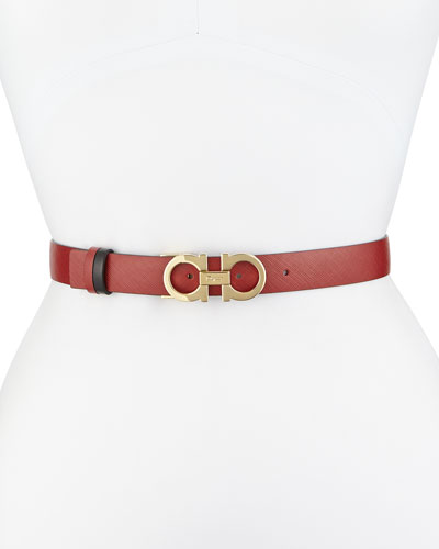 2.5cm Reversible Double-Gancini Belt, Red/Black