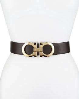 4.5cm Reversible Double-Gancini Belt, Brown/Black