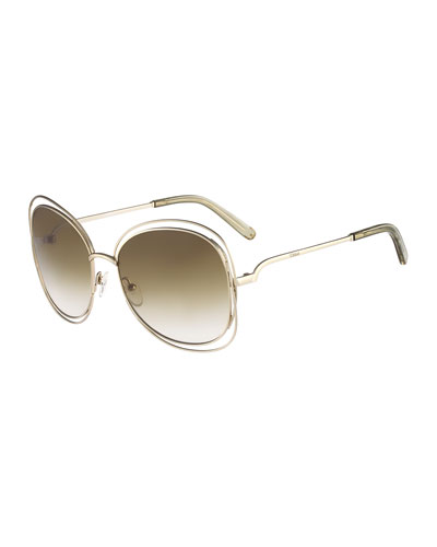 Carlina Butterfly-Frame Sunglasses, Gold