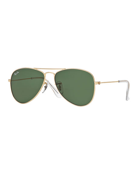 Ray-Ban Children's Metal Aviator Sunglasses, Gold/Green
