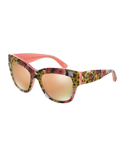 Mirrored Rose-Print Sunglasses, Yellow/Pink