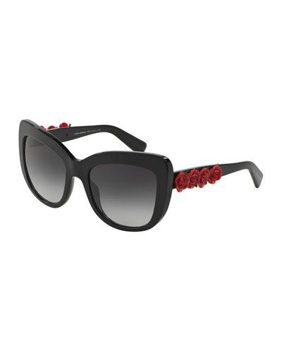 Catwalk Roses Sunglasses, Black/Red