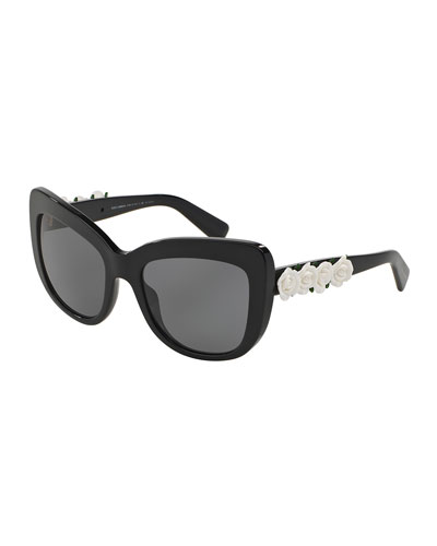 Catwalk Roses Polarized Sunglasses, Black/White
