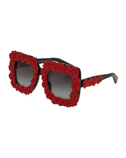 Absolute Luxury Roses Sunglasses, Red/Black
