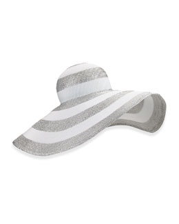 Stripe Dip Brim Hat, Silver/White