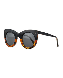 Boca Bicolor Cat-Eye Sunglasses, Black/Tortoise