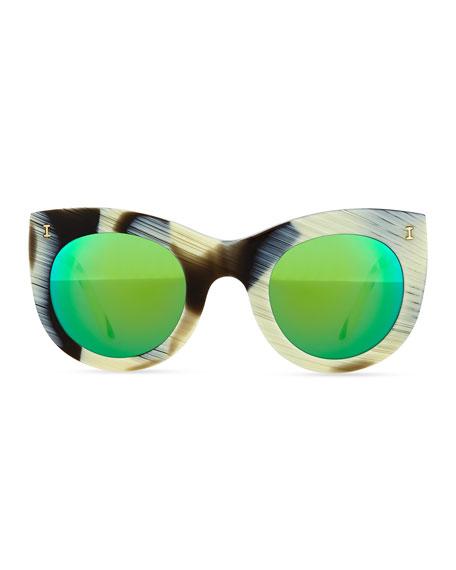 Boca Cat-Eye Sunglasses, Horn