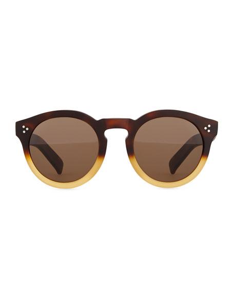 Leonard II Round Bicolor Sunglasses, Black/Brown