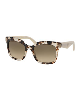 Heritage Square Sunglasses, Brown/White