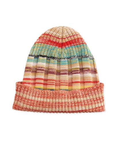 Striped Space-Dye Knit Hat