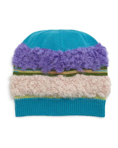 Fuzzy Striped Knit Hat