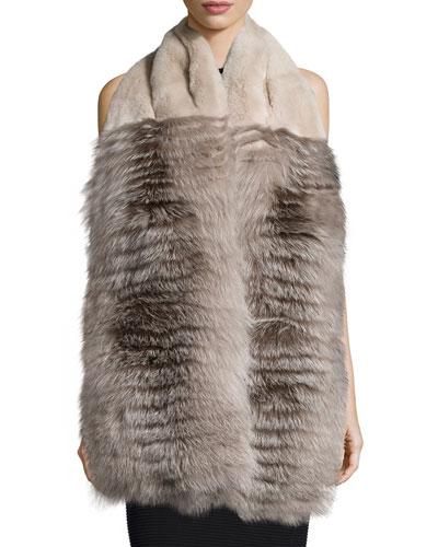 Rabbit & Fox Fur Stole w/Pockets, Earl Gray