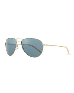 Benedict Polarized Aviator Sunglasses, Gold/Blue