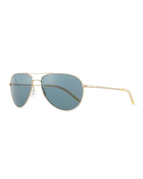 Benedict Polarized Aviator Sunglasses, Gold/Blue
