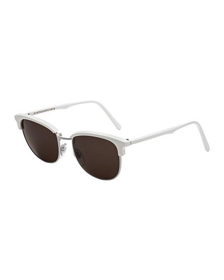 Terrazzo Crociera Metal and Acetate Sunglasses, White