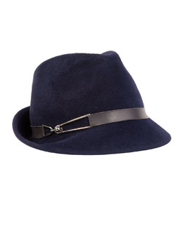 Max Leather-Trim Fedora, Navy