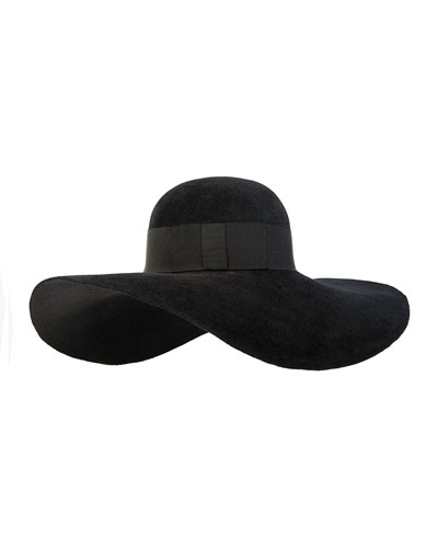 Honey Wide-Brim Hat, Black