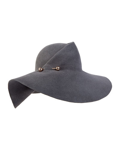 Catherine Wide-Brim Hat, Slate Gray