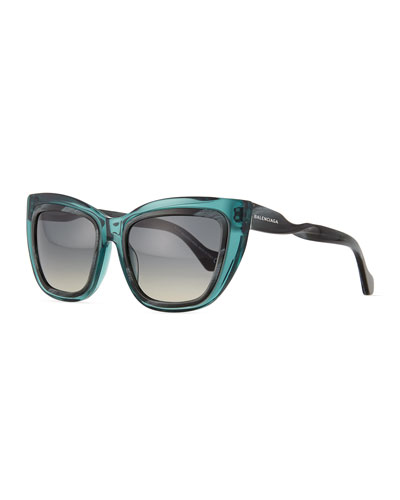 Horn-Effect Twisted Cat-Eye Sunglasses