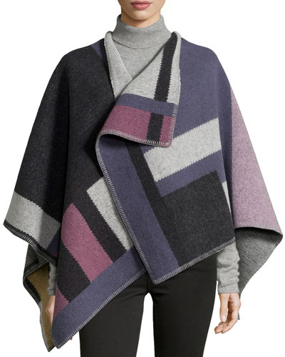 Colorblock Mega-Check Cape, Purple/Pink