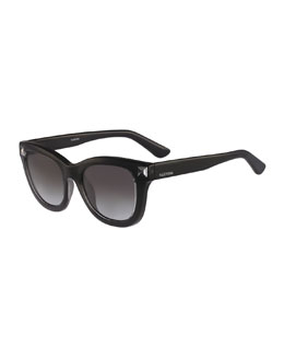 Square Rockstud-Temple Sunglasses, Black