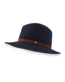 Floppy-Brim Wool Fedora, Navy