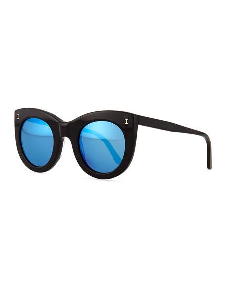 Boca Mirrored Cat-Eye Sunglasses, Black