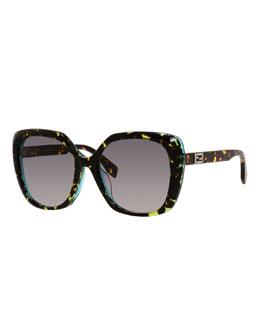 Universal-Fit Square Sunglasses, Havana