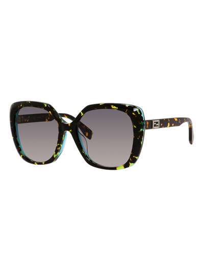 Universal-Fit Square Sunglasses, Havana