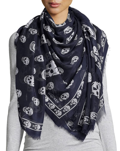 Big Skull-Print Shawl, Navy/Ivory
