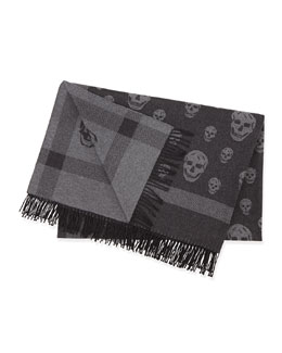 Reversible Skull/Plaid Woven Blanket