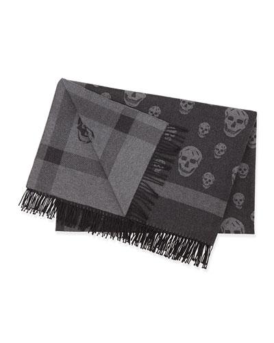 Reversible Skull/Plaid Woven Blanket