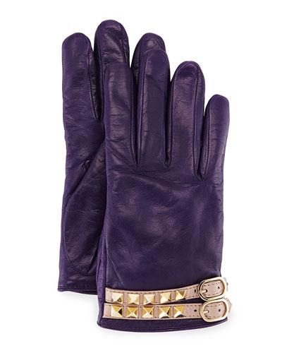 Rockstud Napa Leather Gloves