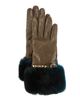 Rockstud Leather Gloves with Fur Cuffs