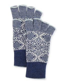 Nordic Fingerless Gloves, Indigo/White