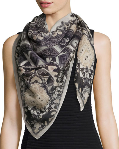 Cashmere Scialle Bombay Shawl, Black/Ivory
