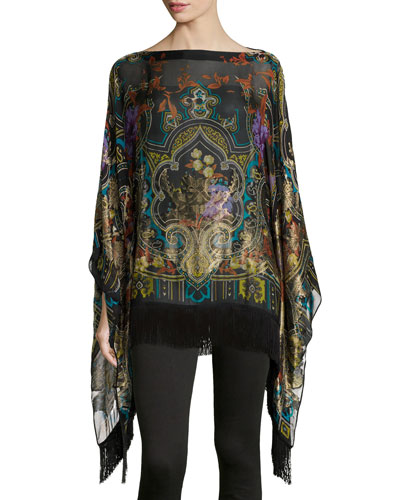Tapestry-Print Poncho with Fringe