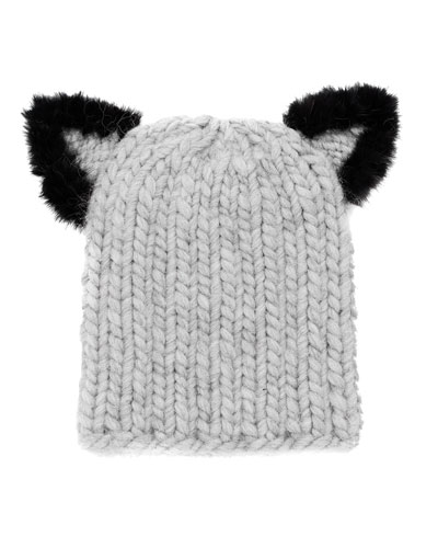 Felix Fur-Trim Cat-Ear Skull Cap